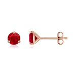 Martini-Set Round Ruby Stud Earrings