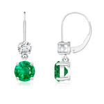 Round Emerald Leverback Dangle Earrings with Diamond