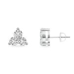 Round Diamond Three Stone Stud Earrings