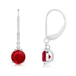 Ruby and Diamond Leverback Drop Earrings