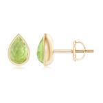 Pear-Shaped Peridot Solitaire Stud Earrings