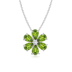 Prong-Set Cluster Peridot Flower Pendant with Diamond