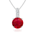 Solitaire Round Ruby Pendant with Diamond Bail