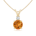 V-Bail Round Citrine Solitaire Pendant with Diamond