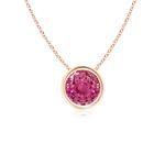 Bezel Set Round Pink Sapphire Solitaire Pendant