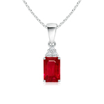 Prong Set Emerald Cut Ruby Pendant with Diamond