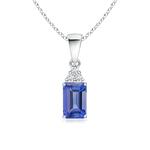 Prong Set Emerald Cut Tanzanite Pendant with Diamond