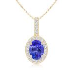 Vintage Oval Tanzanite Pendant Necklace with Diamond Halo