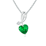 Twisted Heart Shaped Emerald Necklace with Diamond