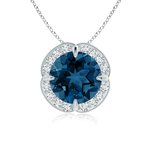 Claw Set London Blue Topaz Clover Pendant with Diamond Halo