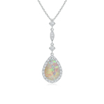 Pear Shaped Opal Teardrop Pendant with Diamond Accents