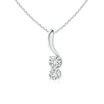 Twist Two Stone Elegant Diamond Pendant Necklace