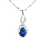 Infinity Solitaire Pear Blue Sapphire Drop Pendant