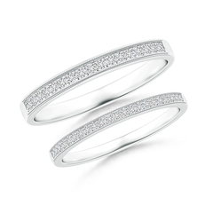 Pave-Set Diamond Half Eternity Wedding Band Set