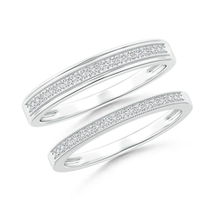 Milgrain-Edged Diamond Half Eternity Couple Band Set