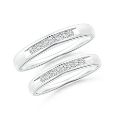 Channel Grooved Classic Diamond Wedding Band Set