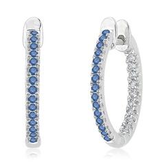 Enhanced Blue and White Diamond Inside Out Hoop Earrings