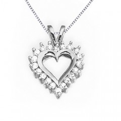 V Bale Round White Gold Diamond Heart Pendant Necklace