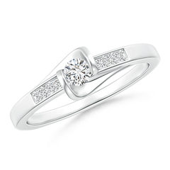 Bar-Set Solitaire Round Diamond Bypass Promise Ring
