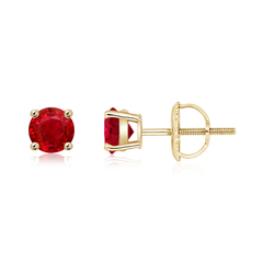 Basket-Set Round Ruby Studs