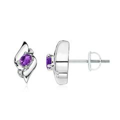 Oval Amethyst and Diamond Shell Stud Earrings