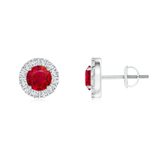 Ruby Stud Earrings with Bar-Set Diamond Halo