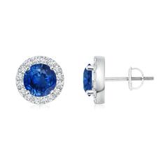 Blue Sapphire Stud Earrings with Bar-Set Diamond Halo
