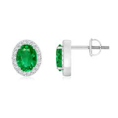 Oval Emerald Studs with Diamond Halo
