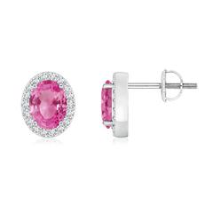 Oval Pink Sapphire Studs with Diamond Halo