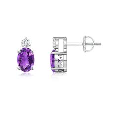 Basket-Set Oval Amethyst Stud Earrings with Diamond