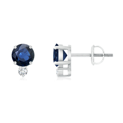 Basket-Set Round Blue Sapphire Stud Earrings with Diamond