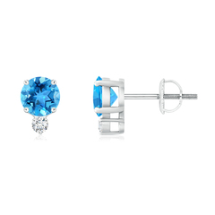 Basket-Set Round Swiss Blue Topaz Stud Earrings with Diamond