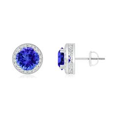Round Tanzanite Stud Earrings with Diamond Halo