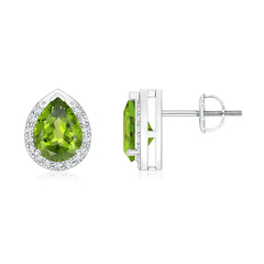 Pear-Shaped Peridot Stud Earrings with Diamond Halo