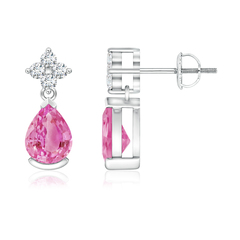 Pear-Shaped Pink Sapphire Drop Earrings with Diamonds
