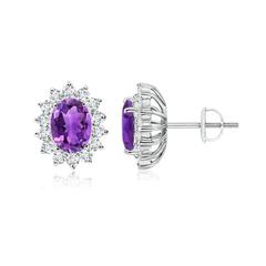 Oval Amethyst Flower Stud Earrings with Diamond Halo