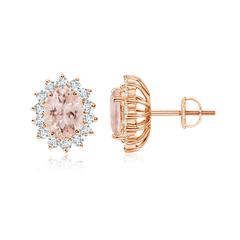 Oval Morganite Flower Stud Earrings with Diamond Halo