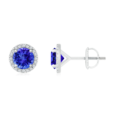 Classic Tanzanite and Diamond Halo Stud Earrings