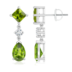 Square and Pear Peridot Drop Earrings with Diamond