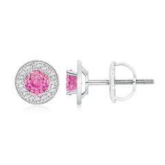 Pink Sapphire Margarita Stud Earrings with Diamond Halo