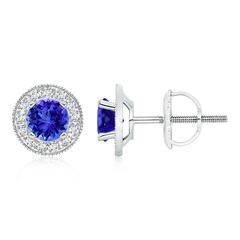Tanzanite Margarita Stud Earrings with Diamond Halo