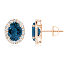 Oval London Blue Topaz Stud Earrings with Diamond Halo
