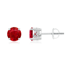 Vintage Style Round Ruby Solitaire Stud Earrings