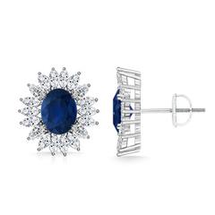 Vintage Oval Sapphire Stud Earrings with Diamond Cluster