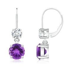 Round Amethyst Leverback Dangle Earrings with Diamond
