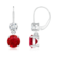 Round Ruby Leverback Dangle Earrings with Diamond