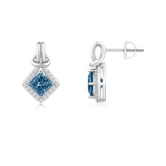 Princess-Cut Enhanced Blue Diamond Love Knot Earrings