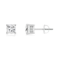 Princess-Cut Diamond Solitaire Stud Earrings