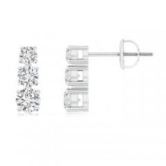 Graduated Diamond Three Stone Earrings