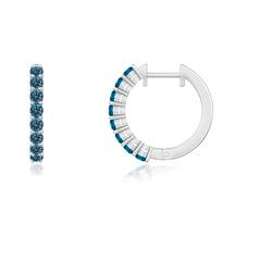 Airline-Set Enhanced Blue Diamond Hinged Hoop Earrings